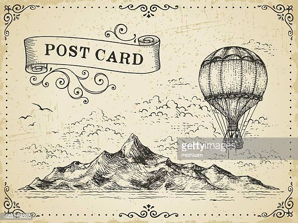 vintage post card - balloon ride stock illustrations