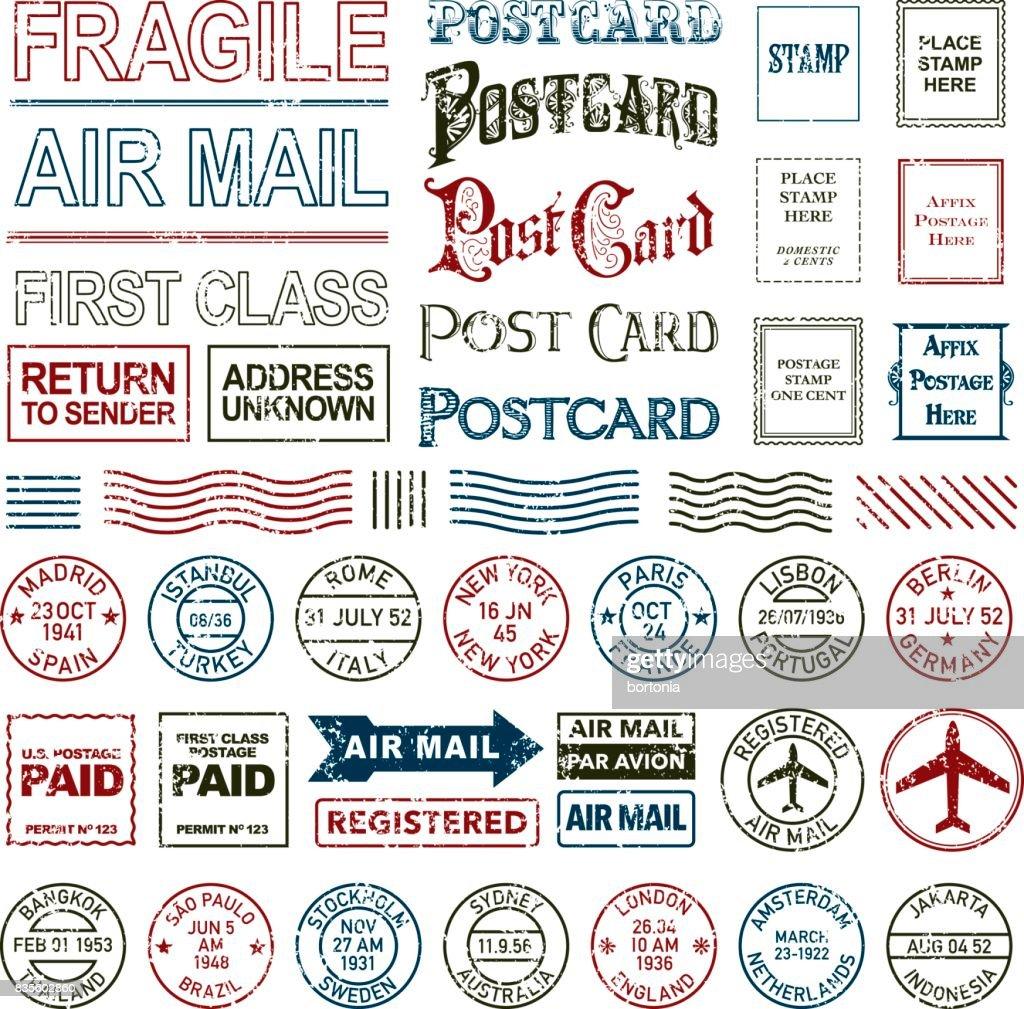 Vintage Postage and Postmark Icon Set : Stock Illustration