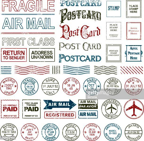 Vintage Postage and Postmark Icon Set
