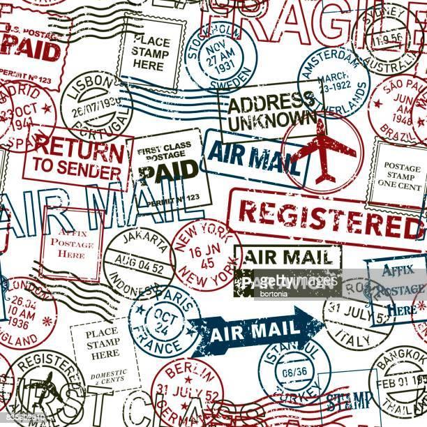 Vintage Porto und Poststempel Seamless Pattern Sets