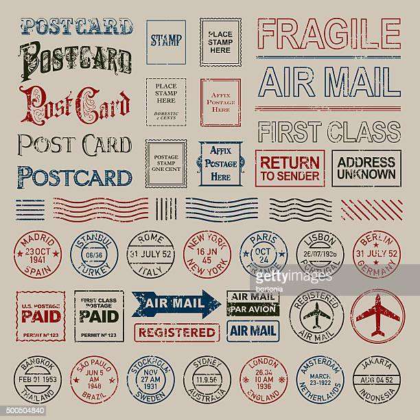 Vintage Postage and Postmark Stamps Set