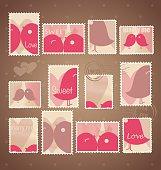 Vintage Postage Stamps. Vector Illustration.