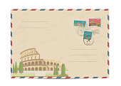 Vintage postal envelope with stamps