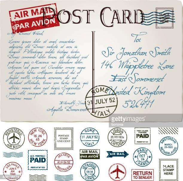 vintage postcard and postmark icon set - postmark stock illustrations