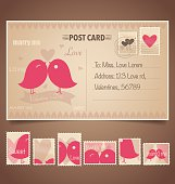 Vintage postcard background and Postage Stamps - for wedding car