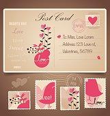 Vintage postcard background and Postage Stamps - for wedding car