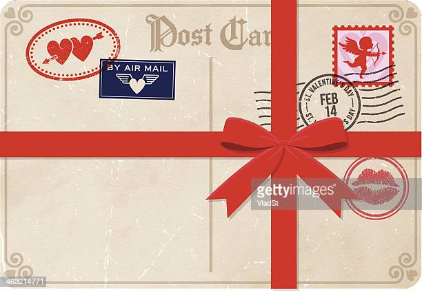 vintage postcard with a red ribbon postmarked february 14 - love letter stock illustrations, clip art, cartoons, & icons