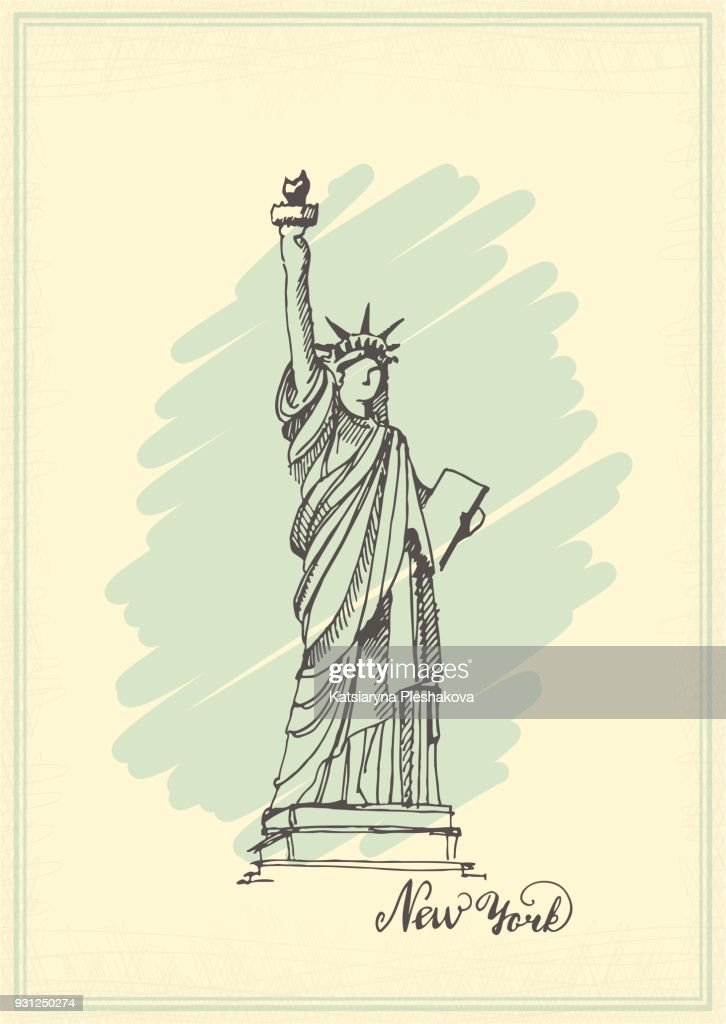 Vintage postcard with a sketch of the statue of liberty. Ink hand drawing. Vector illustration