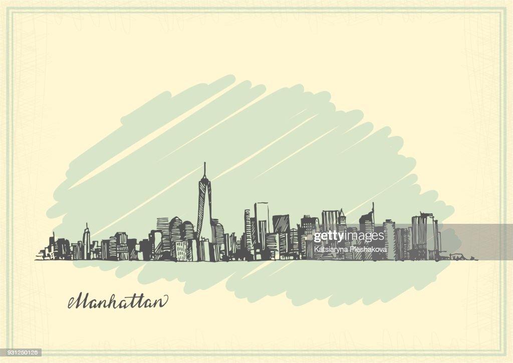 Vintage postcard with sketch of Manhattan New York