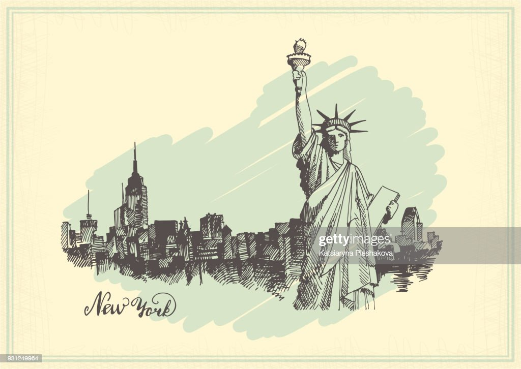 Vintage postcard with sketch of the statue of liberty and the panorama of new York