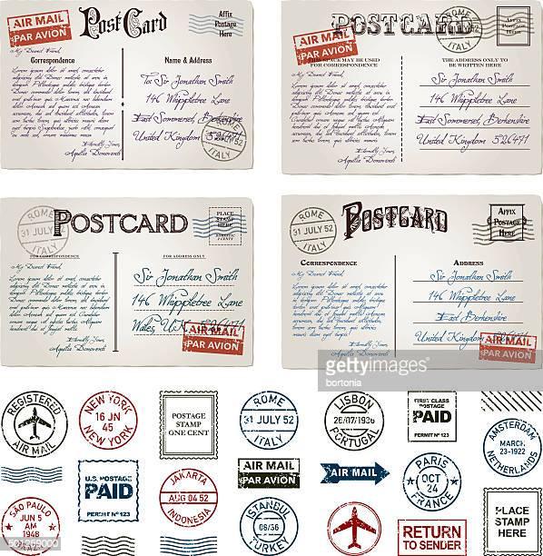 ビンテージポストカード、切手セット消印 - 葉書点のイラスト素材/クリップアート素材/マンガ素材/アイコン素材