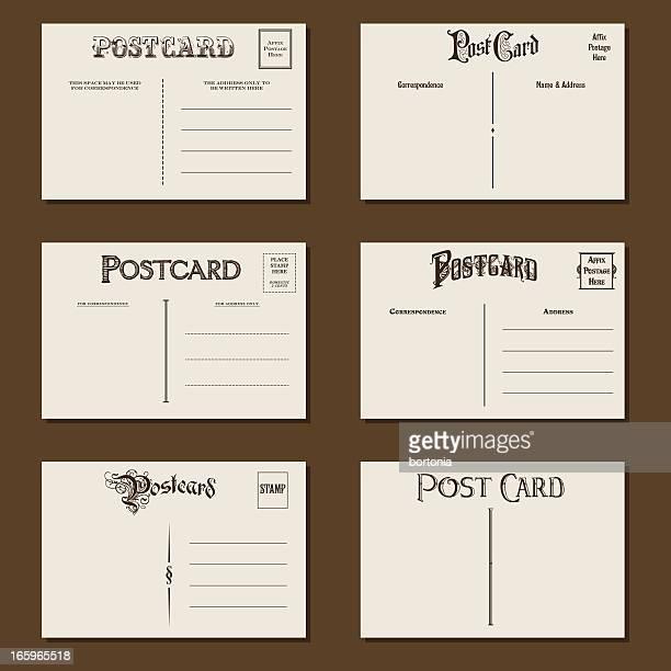 vintage postcards set - postcard stock illustrations, clip art, cartoons, & icons