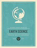 vintage poster for earth science, vector illustration