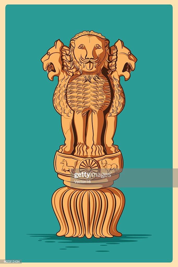 Vintage poster of Ashoka Pillar famous monument  India