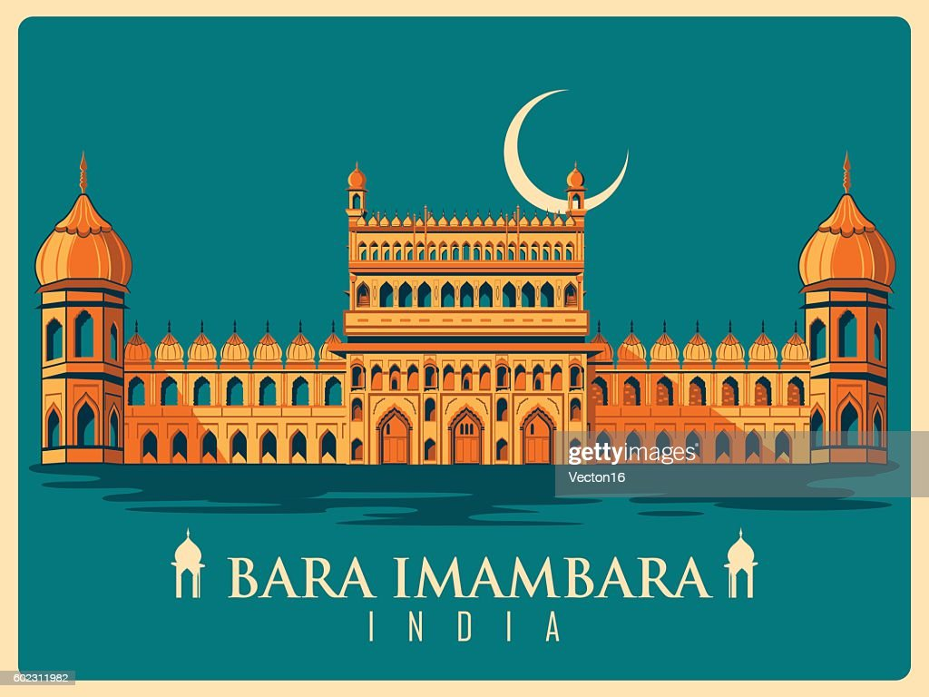 Vintage poster of Bara Imambara in Uttar Pradesh famous monument