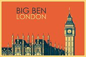 Vintage poster of Big Ben in London famous monument inUnited