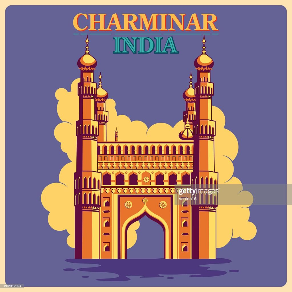 Vintage poster of Charminar in Hyderabad famous monument  India