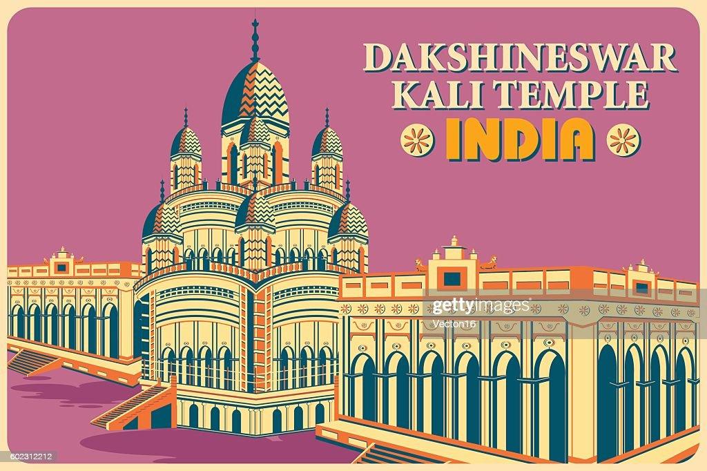 Vintage poster of Dakshineswar Kali Temple in Kolkata famous monument
