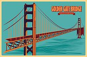 Vintage poster of Golden Gate Bridge in California famous monument