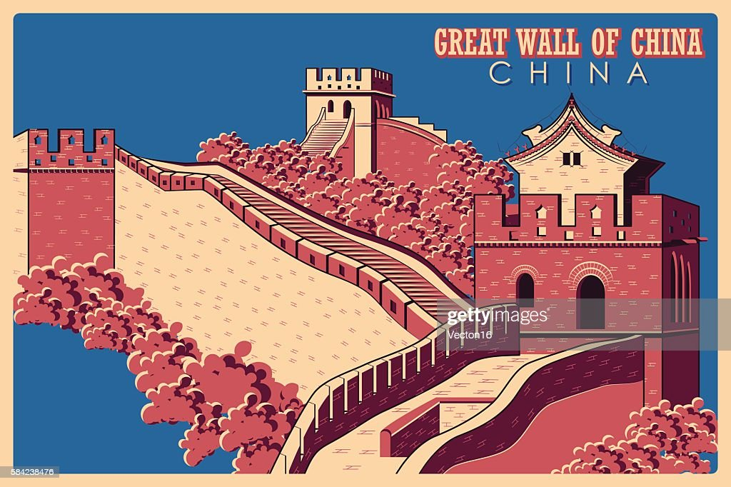 Vintage poster of Great Wall in China