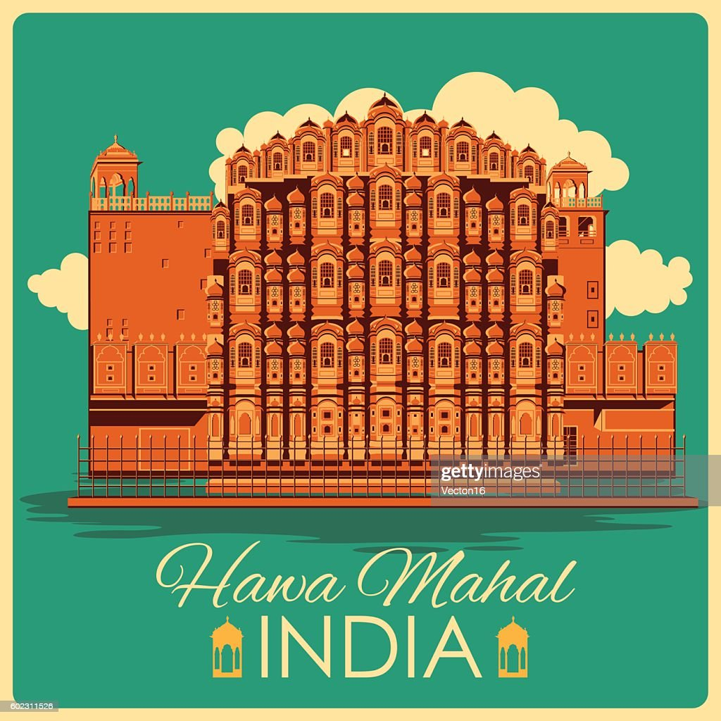 Vintage poster of Hawa Mahal in Rajasthan famous monument  India