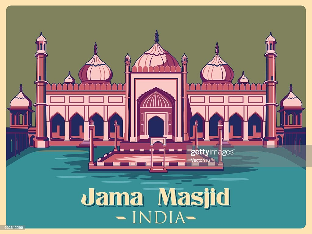 Vintage poster of Jama Masjid in Delhi famous monument  India