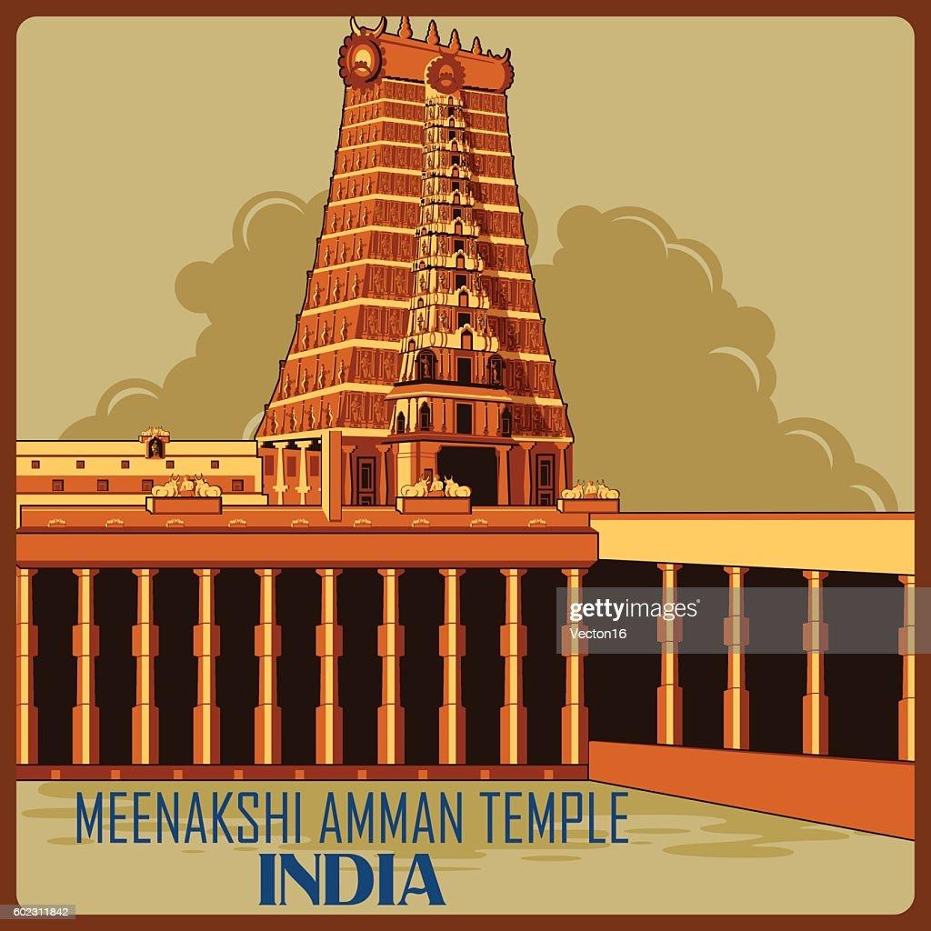 Vintage poster of Meenakshi Amman Temple in Tamil Nadu famous