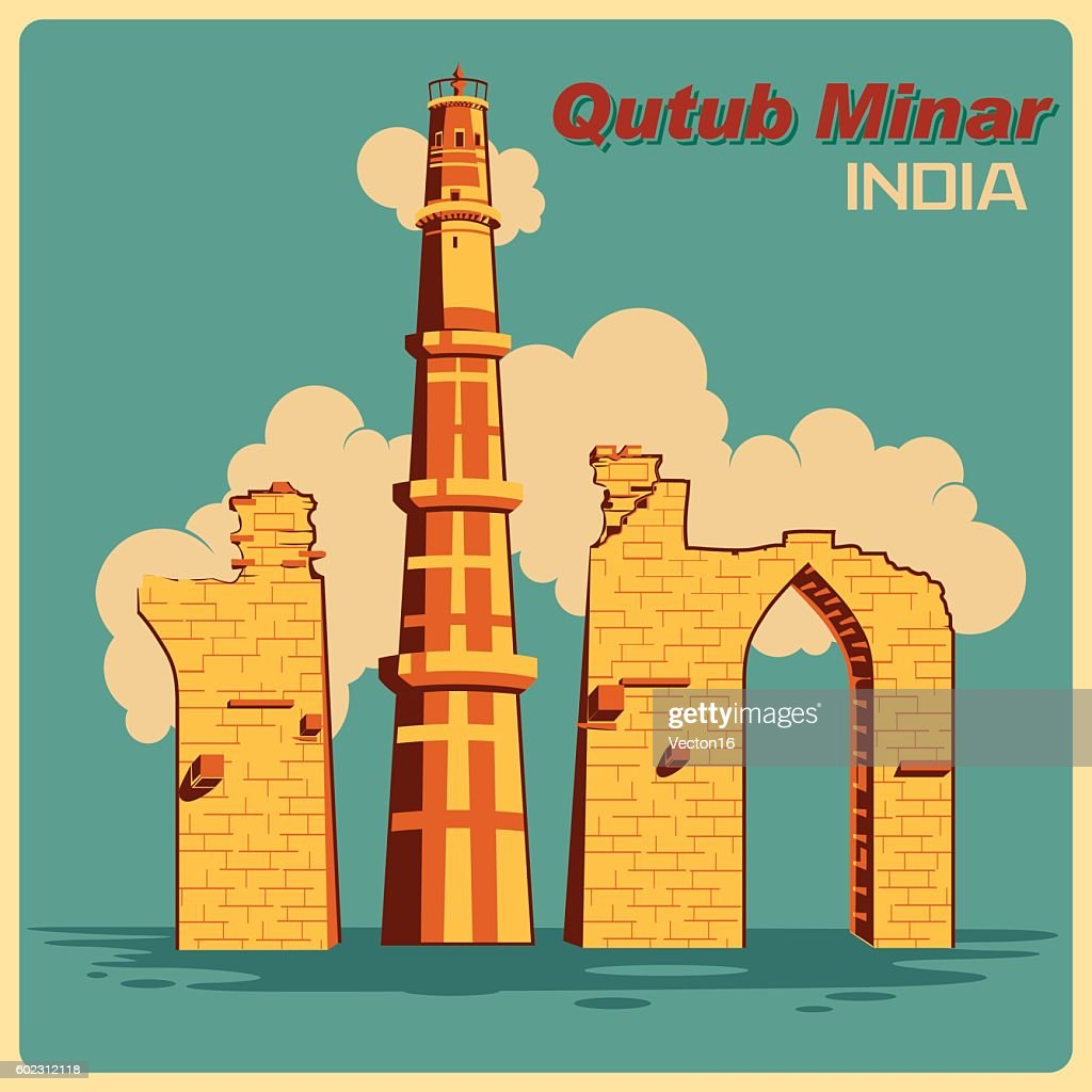 Vintage poster of Qutub Minar in Delhi famous monument  India