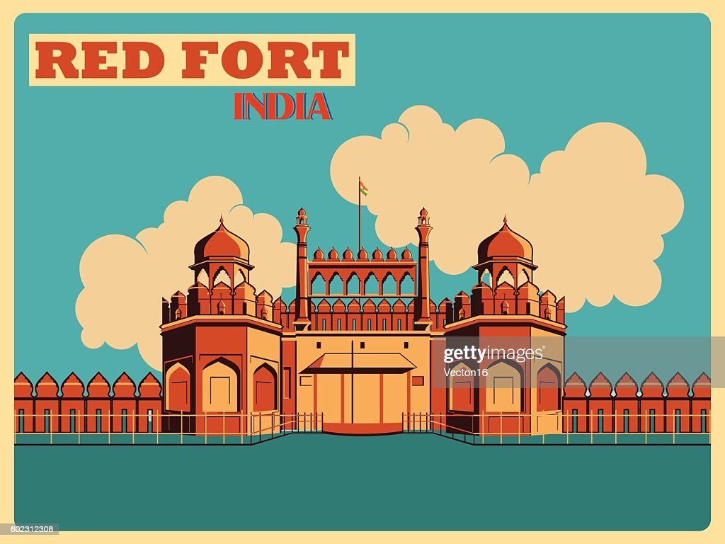 Vintage poster of Red Fort in Delhi famous monument  India