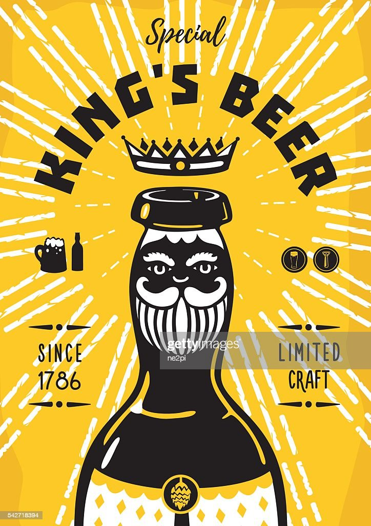 Vintage poster with a beer bottle and king