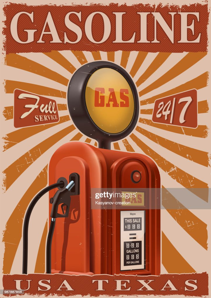 Vintage poster with old gas pump