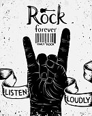 Vintage poster with rock forever. Rock and Roll hand sign