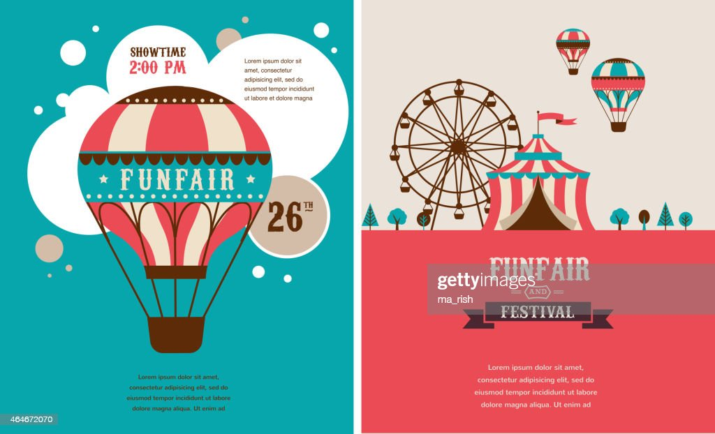 Vintage posters for carnival or circus in red and blue