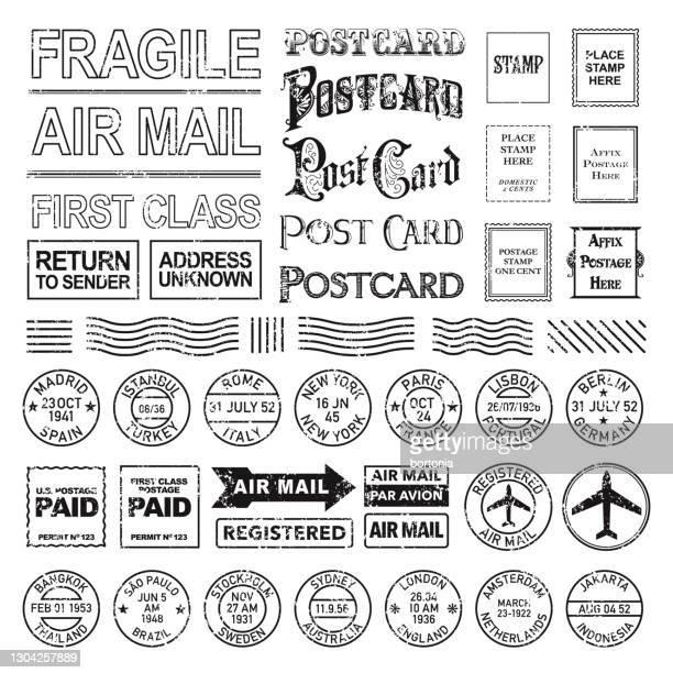 vintage postmark set - postmark stock illustrations