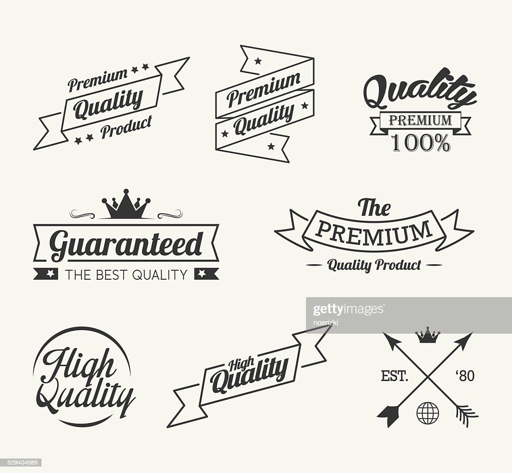 Vintage premium quality label vector set