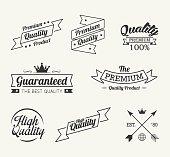 Vintage premium quality label vector set