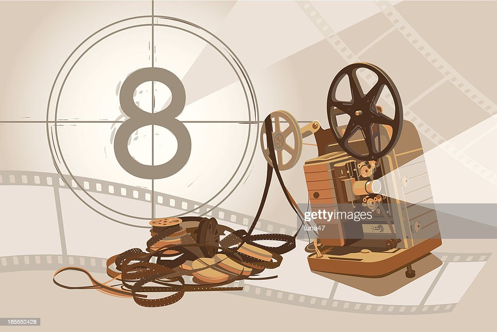 Vintage Projector and Film with Background : stock illustration
