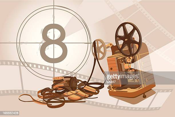 Vintage Projector and Film with Background