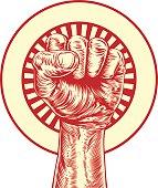 Vintage propaganda fist