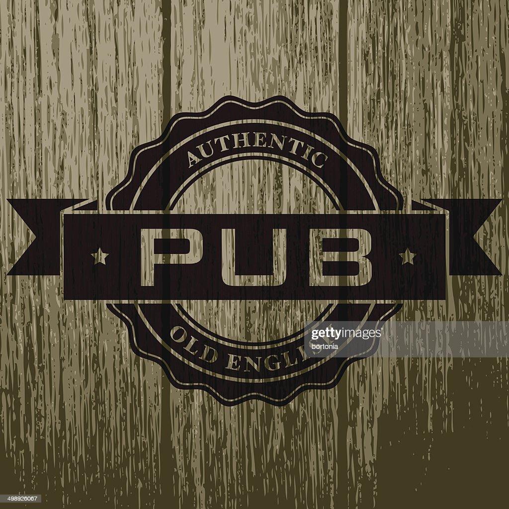 Vintage Pub Label on Aged Wood