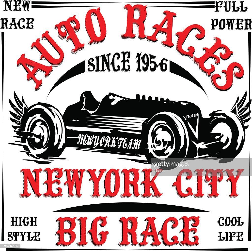 vintage race car print man t shirt vector graphic design