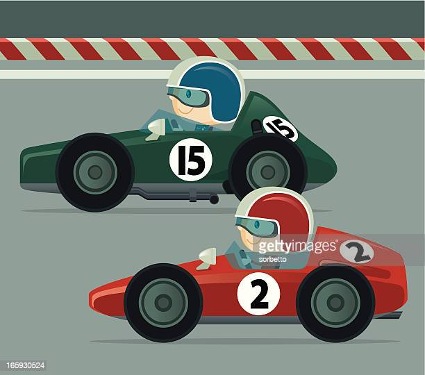 vintage race car - race car stock illustrations, clip art, cartoons, & icons