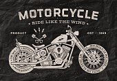 Vintage race motorcycle old school style. Black and white poster