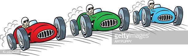 ilustraciones, imágenes clip art, dibujos animados e iconos de stock de carreras de coches de época - circuito de carreras de coches