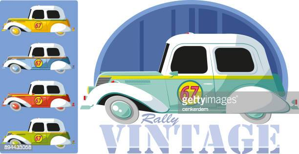 vintage rally car - rally car racing stock illustrations, clip art, cartoons, & icons