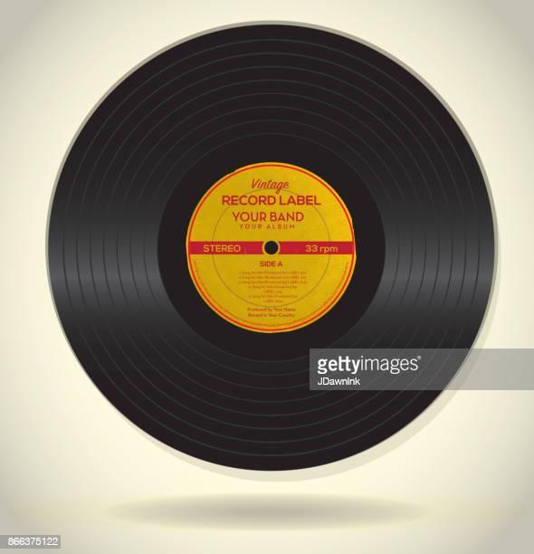 stockillustraties, clipart, cartoons en iconen met vintage platenlabel ontwerpsjabloon - vinylplaat