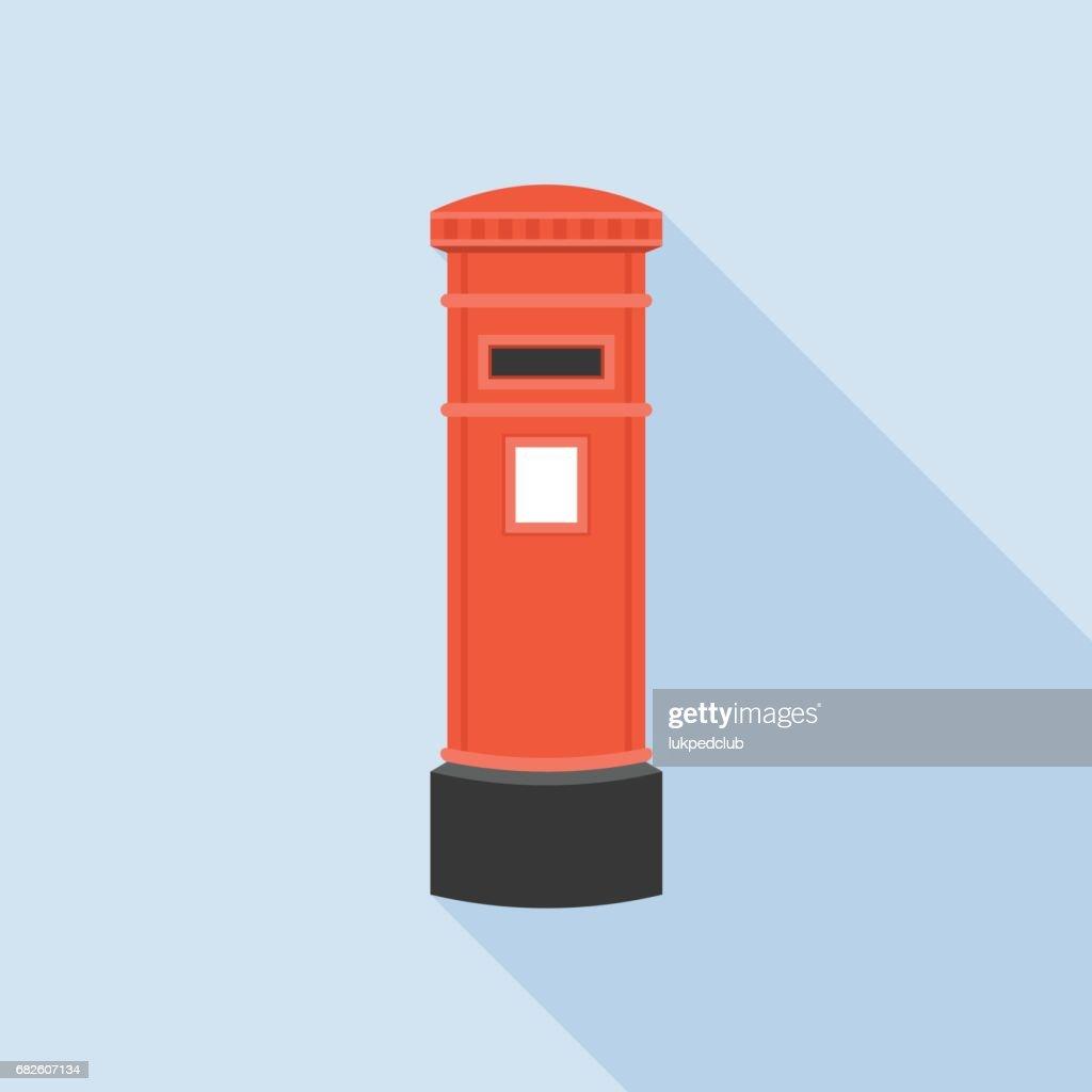 Vintage red mail Post box illustration