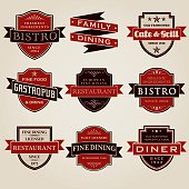 Vintage Restaurant Labels Icon Set