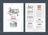 vintage restaurant menu design and wood texture background..