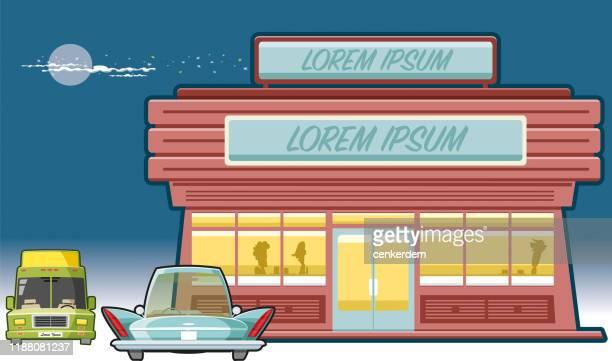 ilustrações, clipart, desenhos animados e ícones de restaurante vintage - lorem ipsum